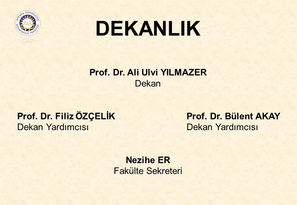 DEKANLIK Prof. Dr. Ali Ulvi YILMAZER Dekan Prof. Dr. Filiz ÖZÇELİK Prof. Dr. Bülent AKAY Dekan Yardımcısı Dekan Yardımcısı Nezihe ER Fakülte Sekreteri