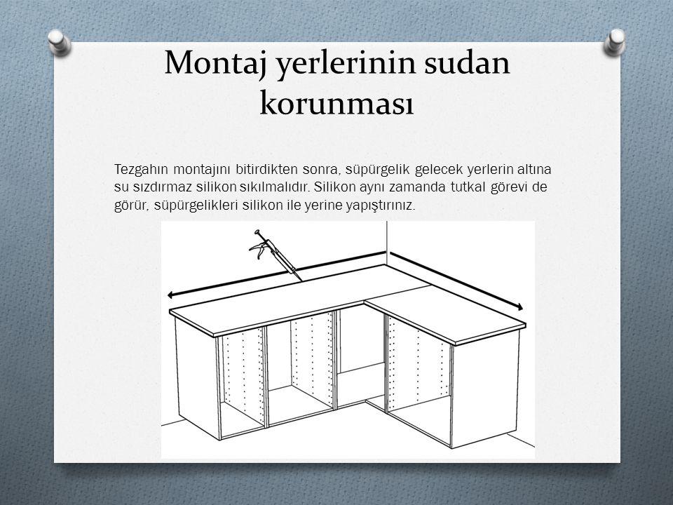 L tezgahlar Eğer tezgahınız L biçimindeyse montaj kutusunda bulabileceğiniz çektirme aparatını kullanınız.