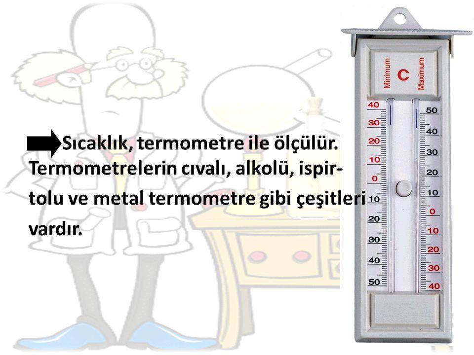 Sıcaklık, termometre ile ölçülür.