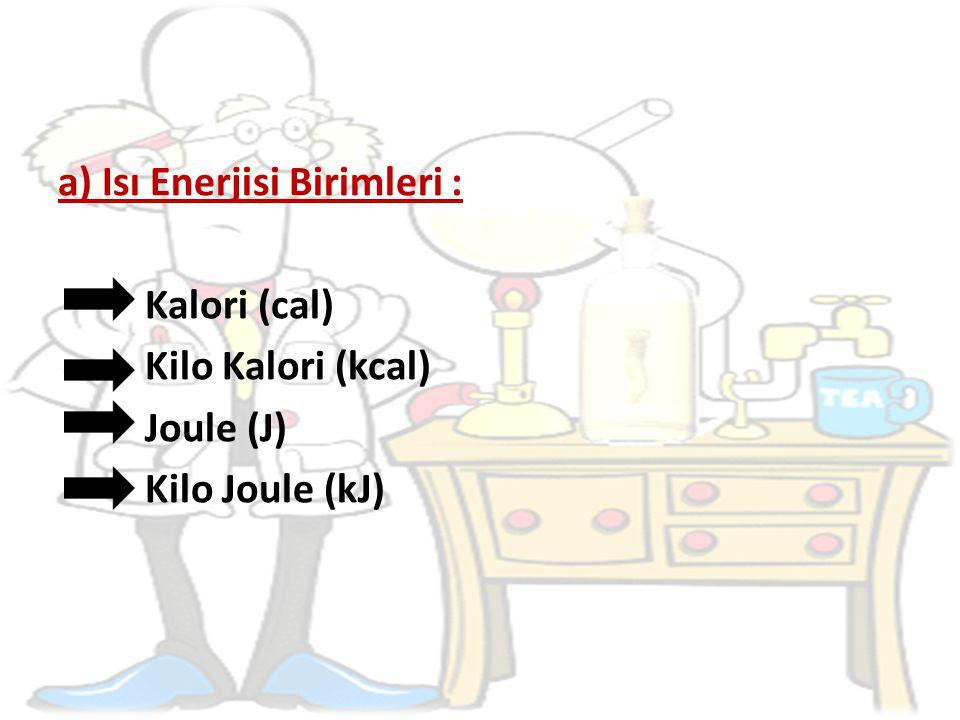 b) Isı Enerjisi Birimlerinin Dönüşümü : 1 kcal = 1000 cal 1 cal = kcal 1 kJ = 1000 J 1 J = kJ 1 cal = 4,18 J 1 cal 4 J 1 J = 0,24 cal 1 J 0,25 cal