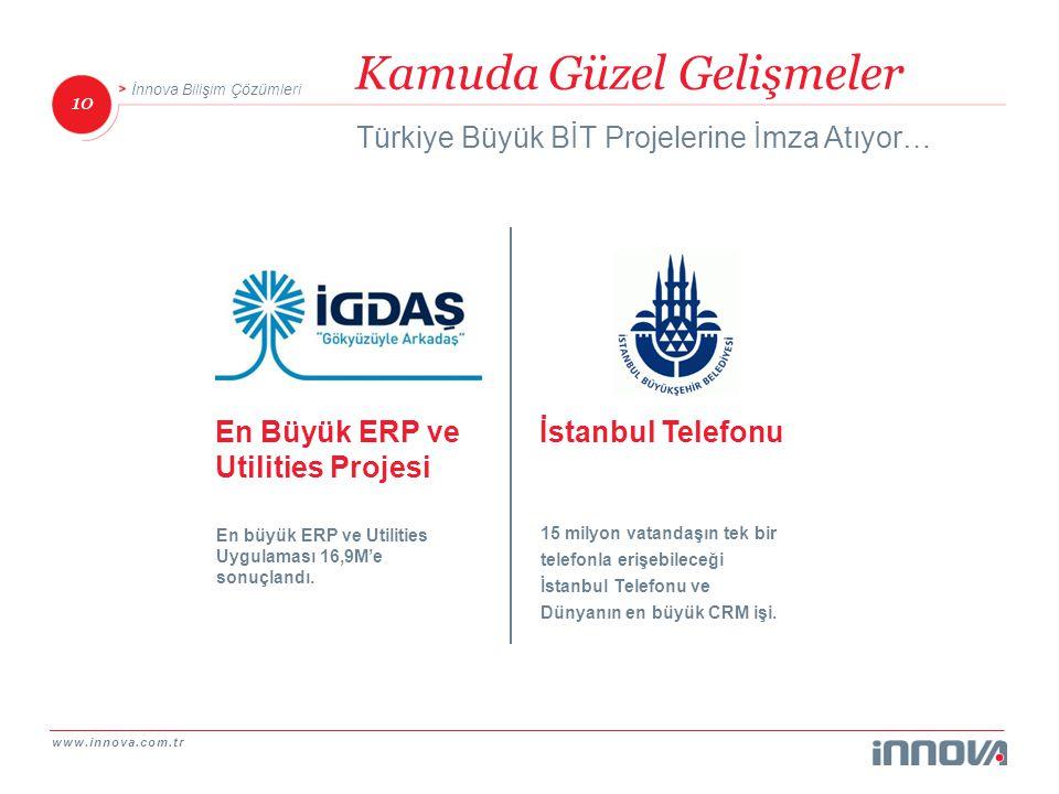 www.innova.com.tr 10 İnnova Bilişim Çözümleri Kamuda Güzel Gelişmeler Türkiye Büyük BİT Projelerine İmza Atıyor… İstanbul Telefonu 15 milyon vatandaşı