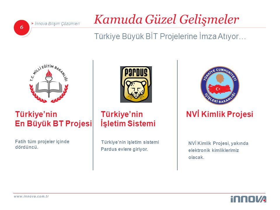 www.innova.com.tr 6 İnnova Bilişim Çözümleri Kamuda Güzel Gelişmeler Türkiye Büyük BİT Projelerine İmza Atıyor… NVİ Kimlik ProjesiTürkiye'nin İşletim