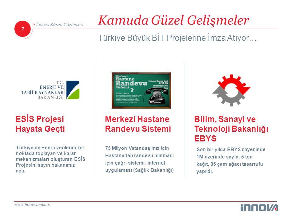 www.innova.com.tr 7 İnnova Bilişim Çözümleri Kamuda Güzel Gelişmeler Türkiye Büyük BİT Projelerine İmza Atıyor… Bilim, Sanayi ve Teknoloji Bakanlığı E