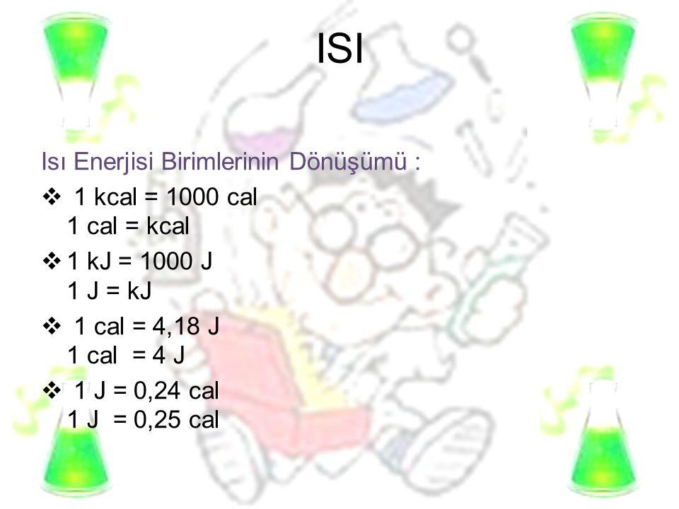ISI Isı Enerjisi Birimlerinin Dönüşümü :  1 kcal = 1000 cal 1 cal = kcal  1 kJ = 1000 J 1 J = kJ  1 cal = 4,18 J 1 cal = 4 J  1 J = 0,24 cal 1 J =