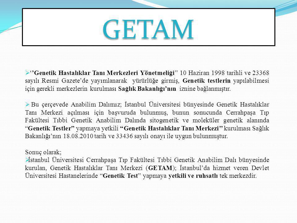 GETAM  ''Genetik Hastalıklar Tanı Merkezleri Yönetmeliği'' 10 Haziran 1998 tarihli ve 23368 sayılı Resmi Gazete'de yayımlanarak yürürlüğe girmiş, Gen