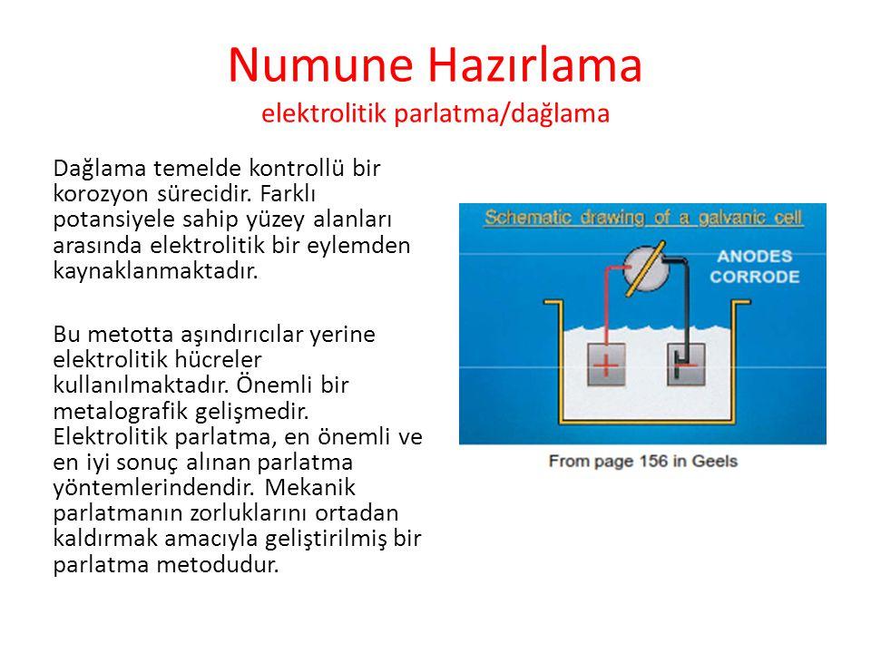 Numune Hazırlama elektrolitik parlatma/dağlama Dağlama temelde kontrollü bir korozyon sürecidir. Farklı potansiyele sahip yüzey alanları arasında elek