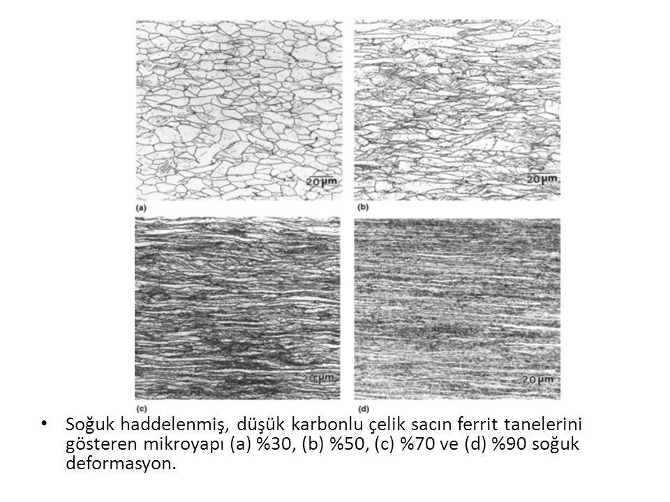 Soğuk haddelenmiş, düşük karbonlu çelik sacın ferrit tanelerini gösteren mikroyapı (a) %30, (b) %50, (c) %70 ve (d) %90 soğuk deformasyon.