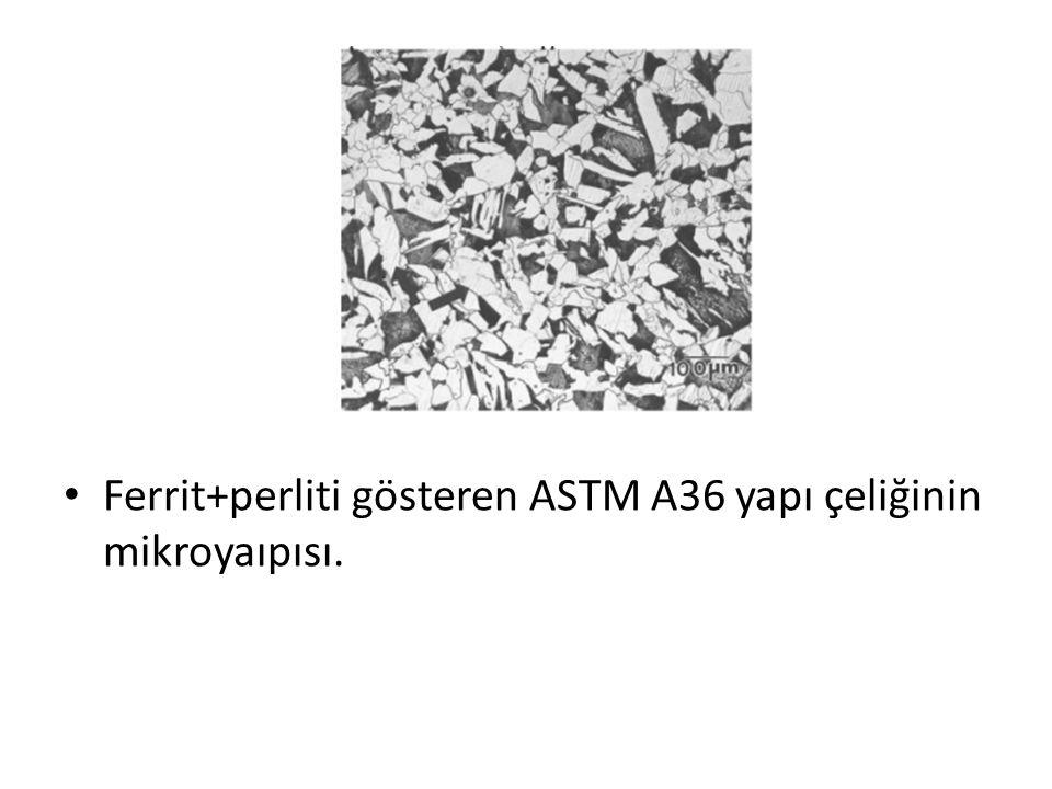 Ferrit+perliti gösteren ASTM A36 yapı çeliğinin mikroyaıpısı.