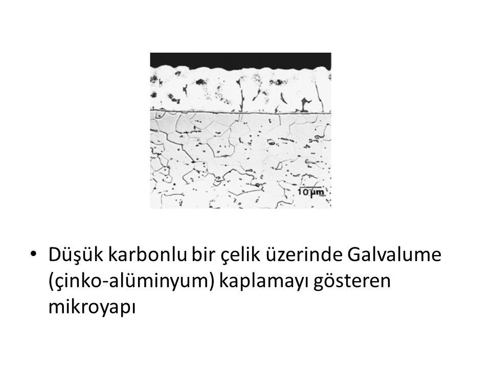 Düşük karbonlu bir çelik üzerinde Galvalume (çinko-alüminyum) kaplamayı gösteren mikroyapı