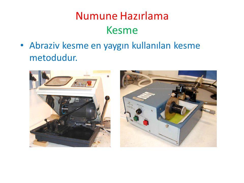 Numune Hazırlama Kesme Abraziv kesme en yaygın kullanılan kesme metodudur.