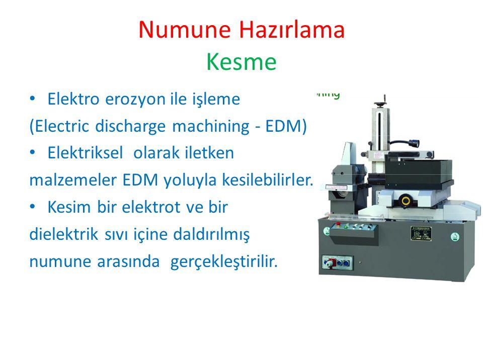 Numune Hazırlama Kesme Elektro erozyon ile işleme (Electric discharge machining - EDM) Elektriksel olarak iletken malzemeler EDM yoluyla kesilebilirle
