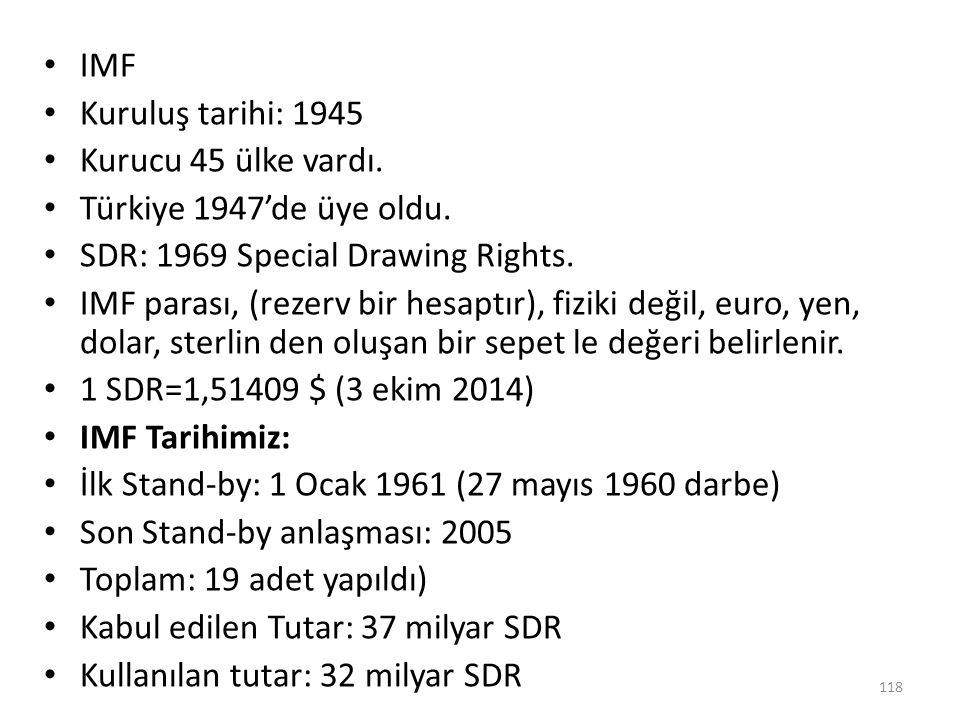 IMF Kuruluş tarihi: 1945 Kurucu 45 ülke vardı. Türkiye 1947'de üye oldu. SDR: 1969 Special Drawing Rights. IMF parası, (rezerv bir hesaptır), fiziki d