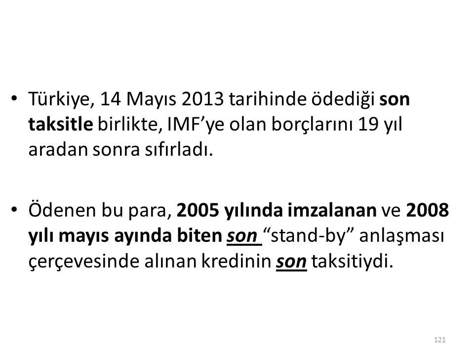 Türkiye, 14 Mayıs 2013 tarihinde ödediği son taksitle birlikte, IMF'ye olan borçlarını 19 yıl aradan sonra sıfırladı. Ödenen bu para, 2005 yılında imz