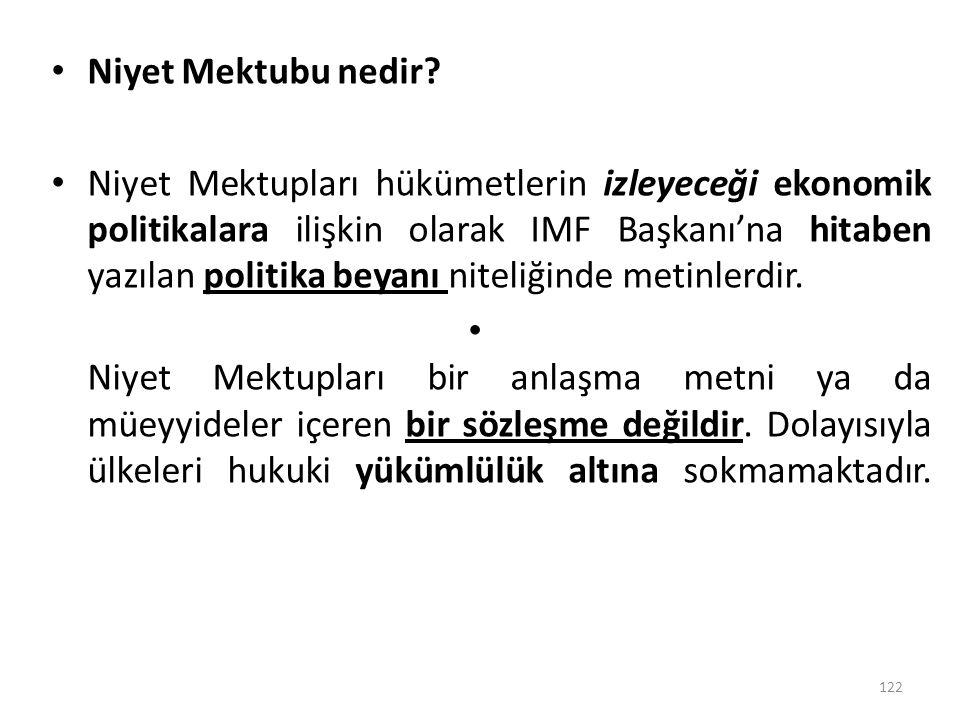 Niyet Mektubu nedir? Niyet Mektupları hükümetlerin izleyeceği ekonomik politikalara ilişkin olarak IMF Başkanı'na hitaben yazılan politika beyanı nite