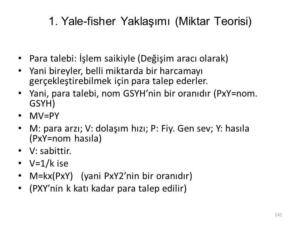 1. Yale-fisher Yaklaşımı (Miktar Teorisi) Para talebi: İşlem saikiyle (Değişim aracı olarak) Yani bireyler, belli miktarda bir harcamayı gerçekleştire