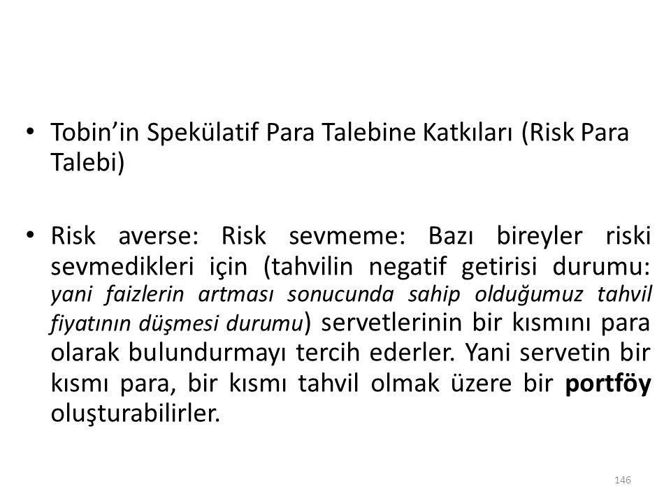 Tobin'in Spekülatif Para Talebine Katkıları (Risk Para Talebi) Risk averse: Risk sevmeme: Bazı bireyler riski sevmedikleri için (tahvilin negatif geti