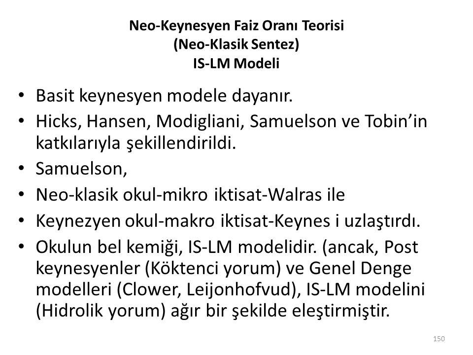 Neo-Keynesyen Faiz Oranı Teorisi (Neo-Klasik Sentez) IS-LM Modeli Basit keynesyen modele dayanır. Hicks, Hansen, Modigliani, Samuelson ve Tobin'in kat