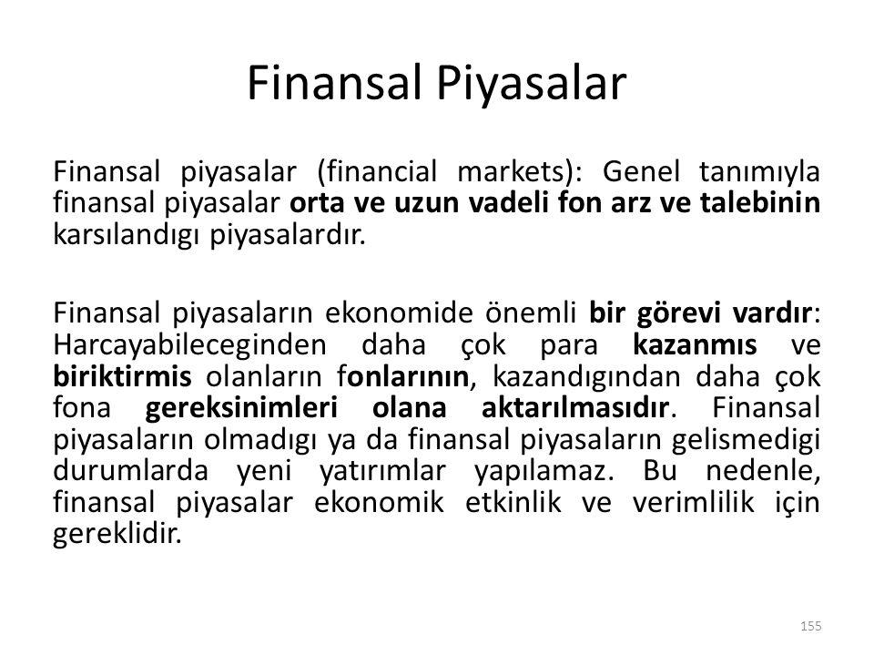 Finansal Piyasalar Finansal piyasalar (financial markets): Genel tanımıyla finansal piyasalar orta ve uzun vadeli fon arz ve talebinin karsılandıgı pi