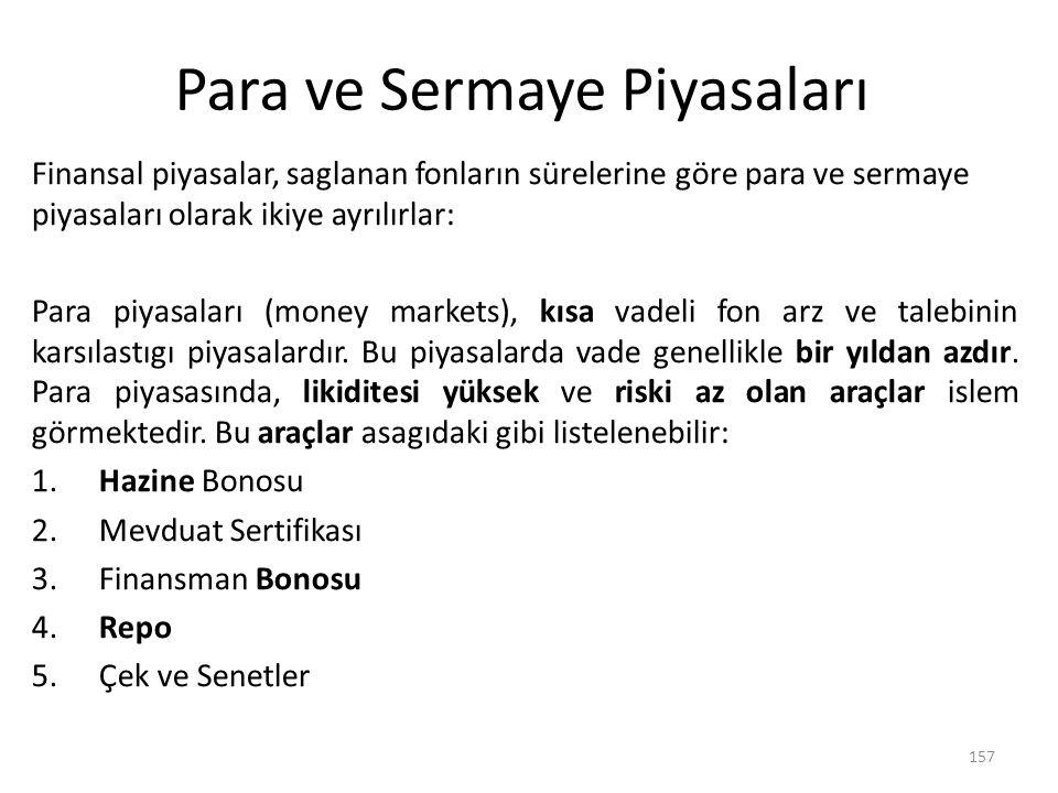 Para ve Sermaye Piyasaları Finansal piyasalar, saglanan fonların sürelerine göre para ve sermaye piyasaları olarak ikiye ayrılırlar: Para piyasaları (