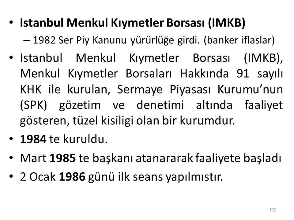 Istanbul Menkul Kıymetler Borsası (IMKB) – 1982 Ser Piy Kanunu yürürlüğe girdi. (banker iflaslar) Istanbul Menkul Kıymetler Borsası (IMKB), Menkul Kıy