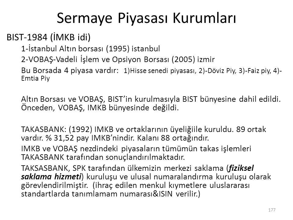 Sermaye Piyasası Kurumları BIST-1984 (İMKB idi) 1-İstanbul Altın borsası (1995) istanbul 2-VOBAŞ-Vadeli İşlem ve Opsiyon Borsası (2005) izmir Bu Borsa