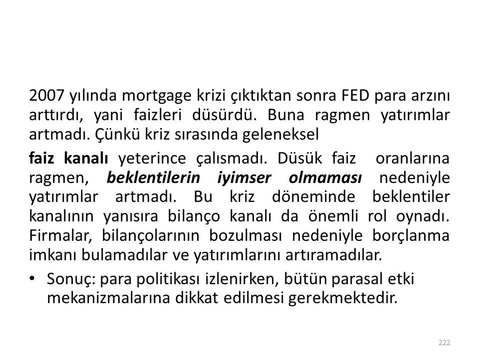 2007 yılında mortgage krizi çıktıktan sonra FED para arzını arttırdı, yani faizleri düsürdü. Buna ragmen yatırımlar artmadı. Çünkü kriz sırasında gele