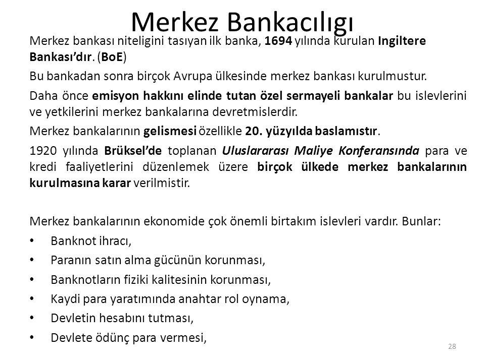Merkez Bankacılıgı Merkez bankası niteligini tasıyan ilk banka, 1694 yılında kurulan Ingiltere Bankası'dır. (BoE) Bu bankadan sonra birçok Avrupa ülke