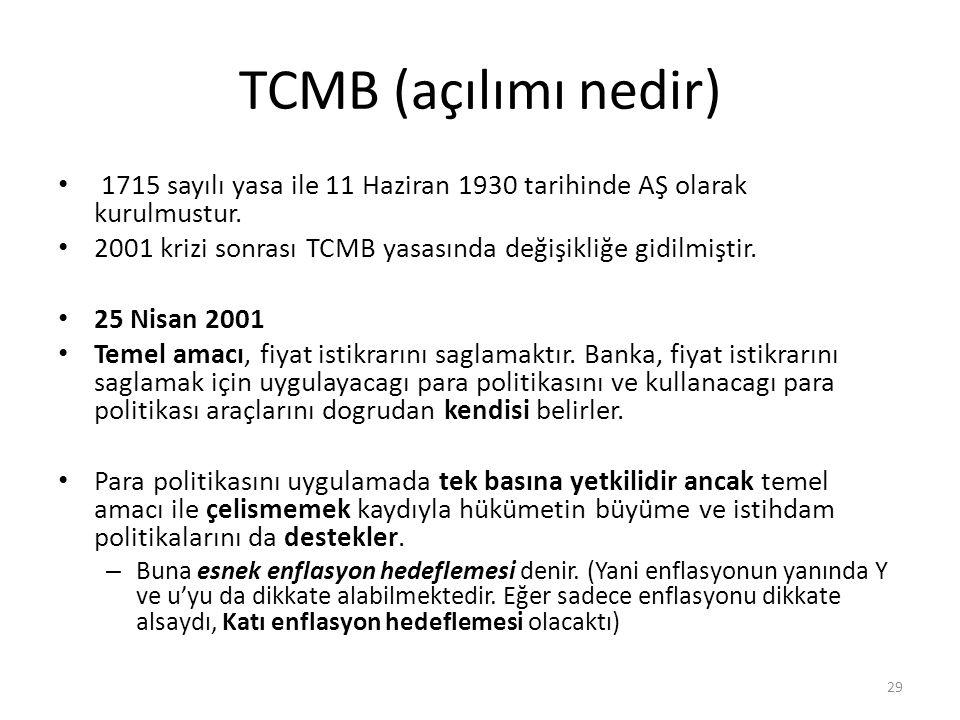 TCMB (açılımı nedir) 1715 sayılı yasa ile 11 Haziran 1930 tarihinde AŞ olarak kurulmustur. 2001 krizi sonrası TCMB yasasında değişikliğe gidilmiştir.