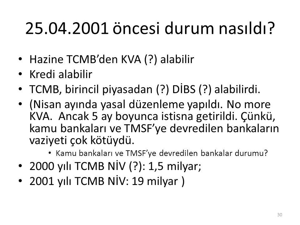 25.04.2001 öncesi durum nasıldı? Hazine TCMB'den KVA (?) alabilir Kredi alabilir TCMB, birincil piyasadan (?) DİBS (?) alabilirdi. (Nisan ayında yasal