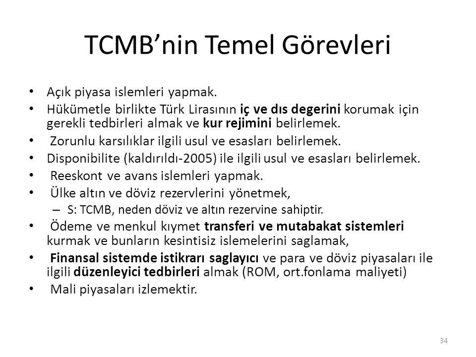 TCMB'nin Temel Görevleri Açık piyasa islemleri yapmak. Hükümetle birlikte Türk Lirasının iç ve dıs degerini korumak için gerekli tedbirleri almak ve k