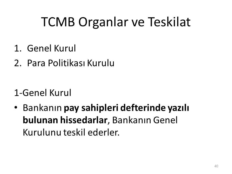 TCMB Organlar ve Teskilat 1.Genel Kurul 2.Para Politikası Kurulu 1-Genel Kurul Bankanın pay sahipleri defterinde yazılı bulunan hissedarlar, Bankanın