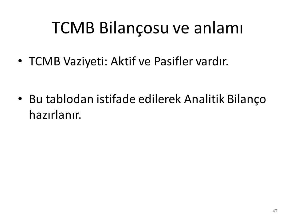 TCMB Bilançosu ve anlamı TCMB Vaziyeti: Aktif ve Pasifler vardır. Bu tablodan istifade edilerek Analitik Bilanço hazırlanır. 47