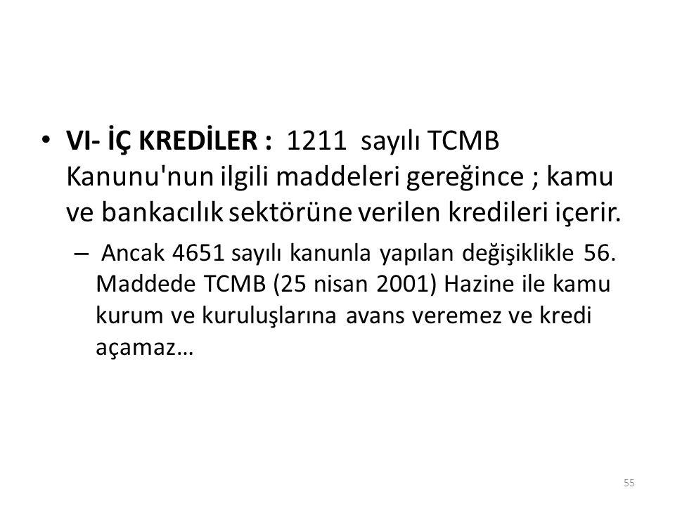 VI- İÇ KREDİLER : 1211 sayılı TCMB Kanunu'nun ilgili maddeleri gereğince ; kamu ve bankacılık sektörüne verilen kredileri içerir. – Ancak 4651 sayılı