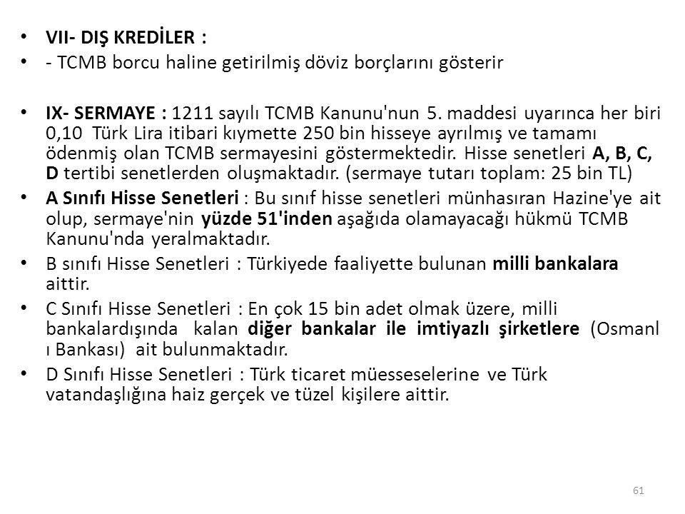 VII- DIŞ KREDİLER : - TCMB borcu haline getirilmiş döviz borçlarını gösterir IX- SERMAYE : 1211 sayılı TCMB Kanunu'nun 5. maddesi uyarınca her biri 0,