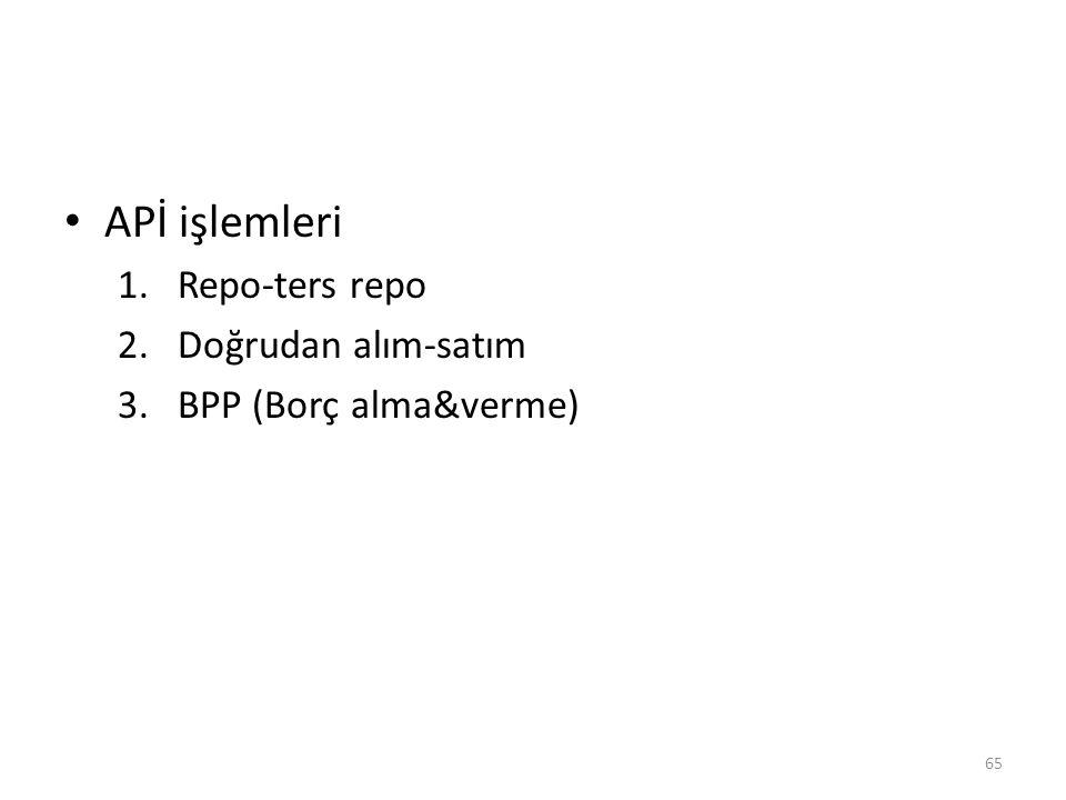 APİ işlemleri 1.Repo-ters repo 2.Doğrudan alım-satım 3.BPP (Borç alma&verme) 65