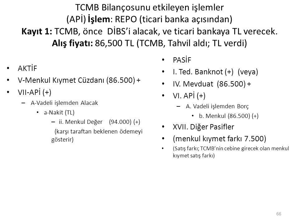 TCMB Bilançosunu etkileyen işlemler (APİ) İşlem: REPO (ticari banka açısından) Kayıt 1: TCMB, önce DİBS'i alacak, ve ticari bankaya TL verecek. Alış f
