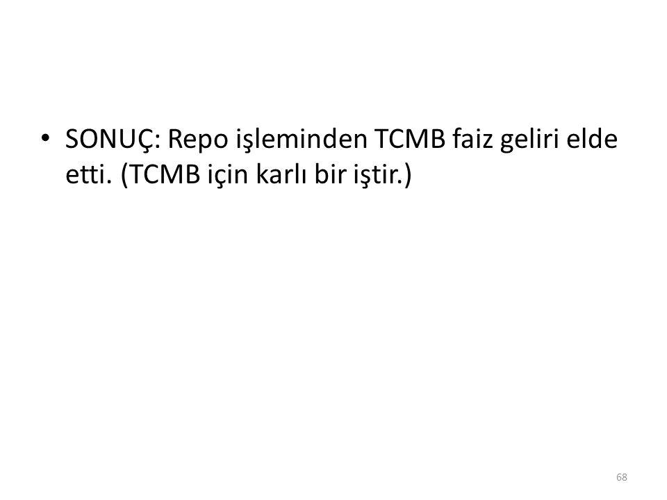 SONUÇ: Repo işleminden TCMB faiz geliri elde etti. (TCMB için karlı bir iştir.) 68