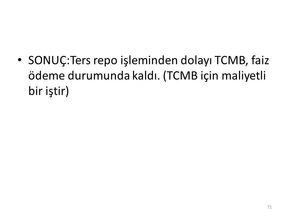 SONUÇ:Ters repo işleminden dolayı TCMB, faiz ödeme durumunda kaldı. (TCMB için maliyetli bir iştir) 71