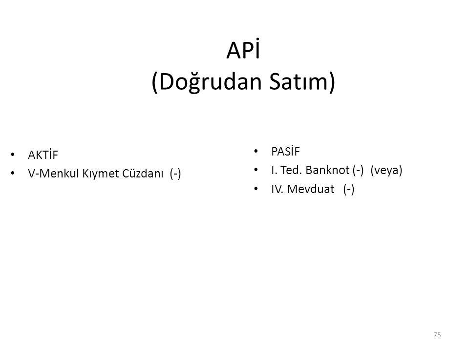 APİ (Doğrudan Satım) AKTİF V-Menkul Kıymet Cüzdanı (-) PASİF I.