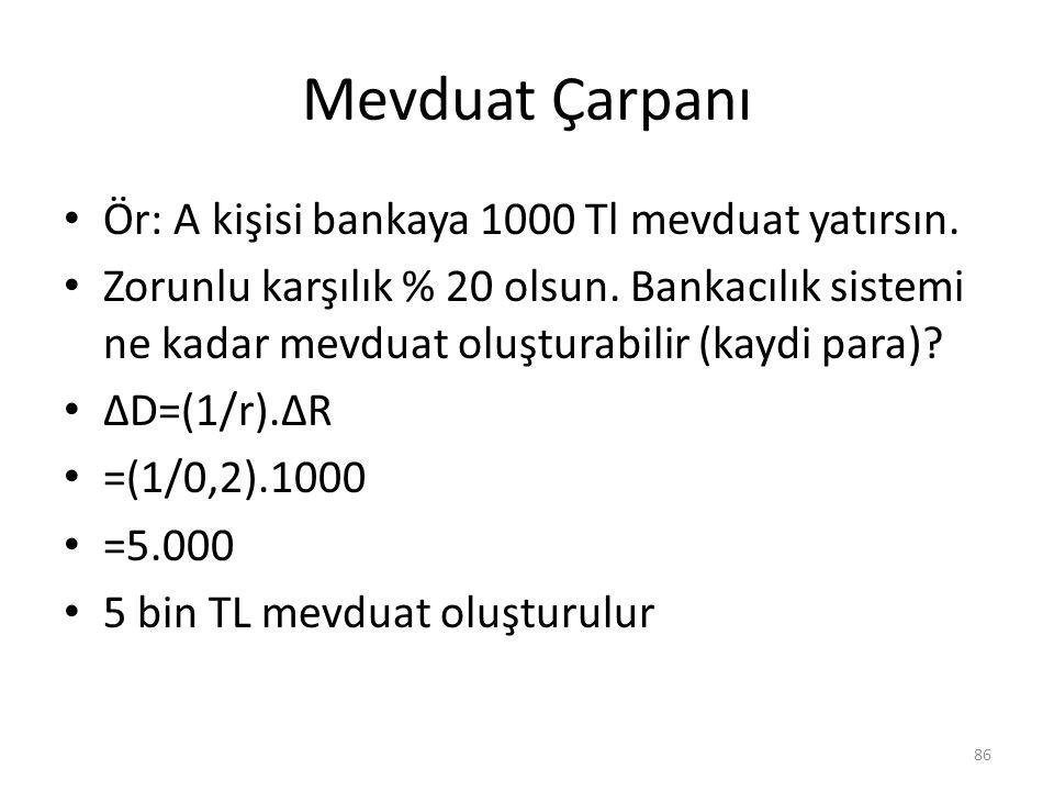 Mevduat Çarpanı Ör: A kişisi bankaya 1000 Tl mevduat yatırsın. Zorunlu karşılık % 20 olsun. Bankacılık sistemi ne kadar mevduat oluşturabilir (kaydi p