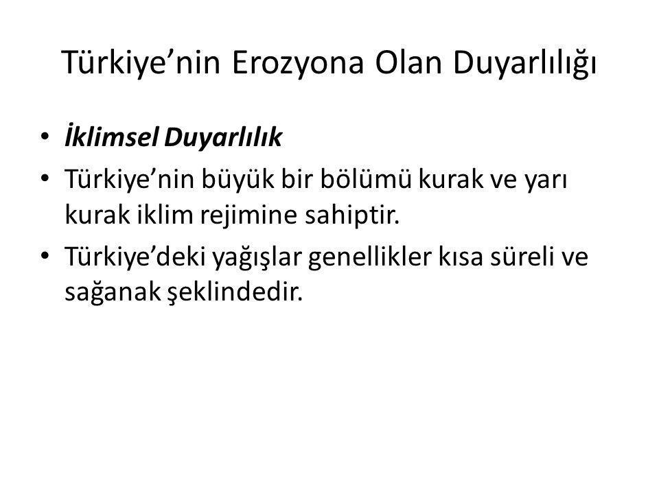 Türkiye'nin Erozyona Olan Duyarlılığı İklimsel Duyarlılık Türkiye'nin büyük bir bölümü kurak ve yarı kurak iklim rejimine sahiptir. Türkiye'deki yağış