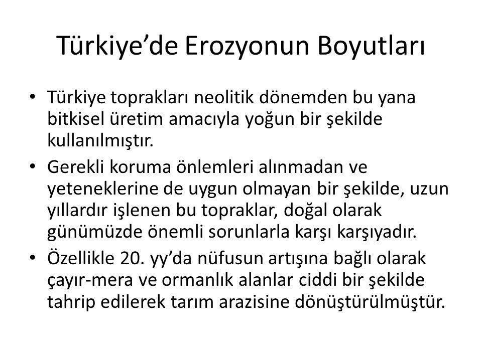 Türkiye'de Erozyonun Boyutları Türkiye toprakları neolitik dönemden bu yana bitkisel üretim amacıyla yoğun bir şekilde kullanılmıştır. Gerekli koruma