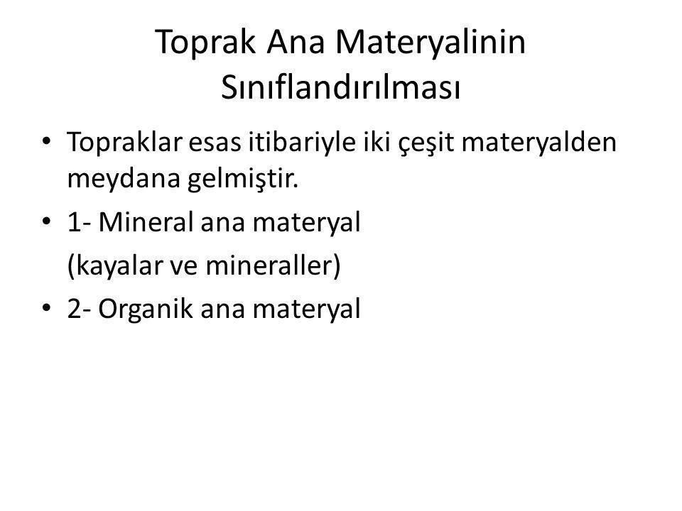 Toprak Ana Materyalinin Sınıflandırılması Topraklar esas itibariyle iki çeşit materyalden meydana gelmiştir. 1- Mineral ana materyal (kayalar ve miner