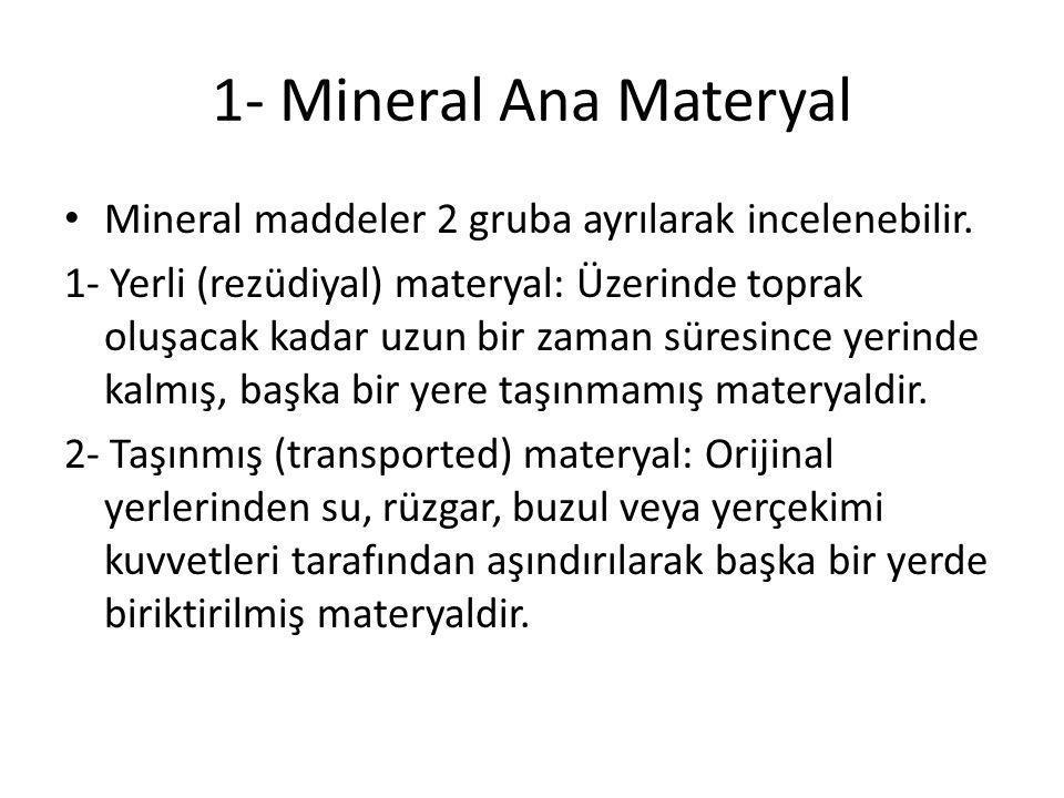1- Mineral Ana Materyal Mineral maddeler 2 gruba ayrılarak incelenebilir. 1- Yerli (rezüdiyal) materyal: Üzerinde toprak oluşacak kadar uzun bir zaman