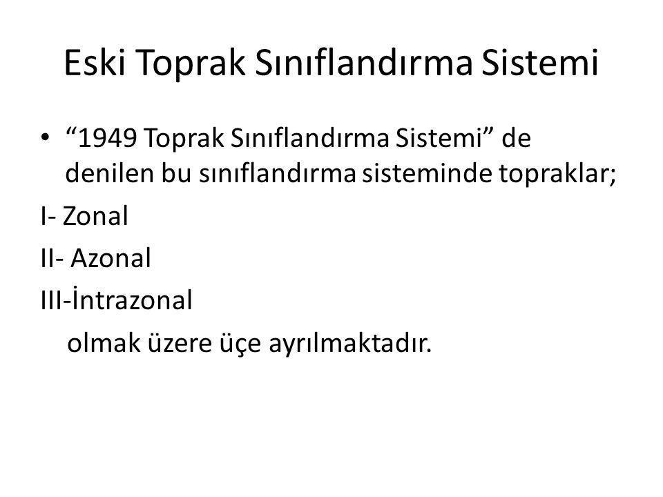 """Eski Toprak Sınıflandırma Sistemi """"1949 Toprak Sınıflandırma Sistemi"""" de denilen bu sınıflandırma sisteminde topraklar; I- Zonal II- Azonal III-İntraz"""