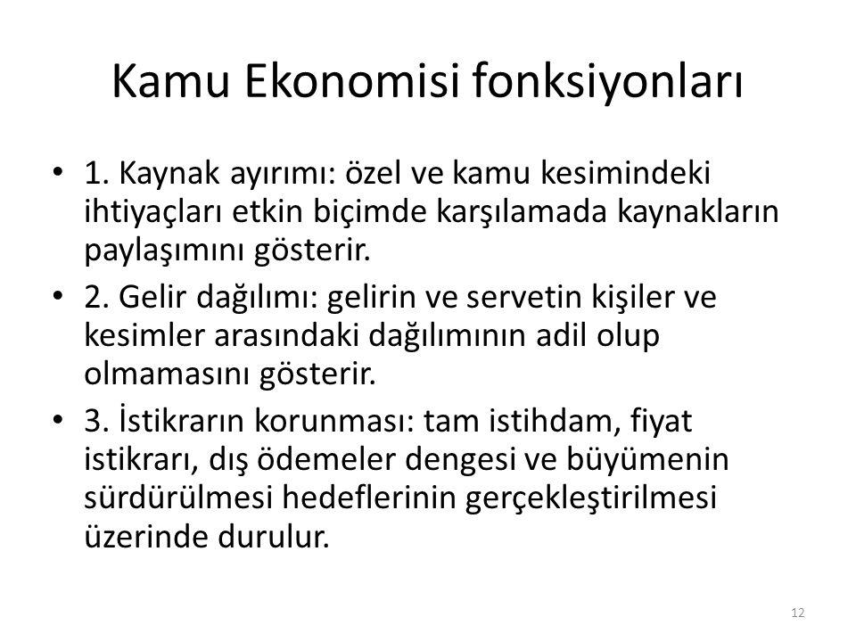 Kamu Ekonomisi fonksiyonları 1. Kaynak ayırımı: özel ve kamu kesimindeki ihtiyaçları etkin biçimde karşılamada kaynakların paylaşımını gösterir. 2. Ge