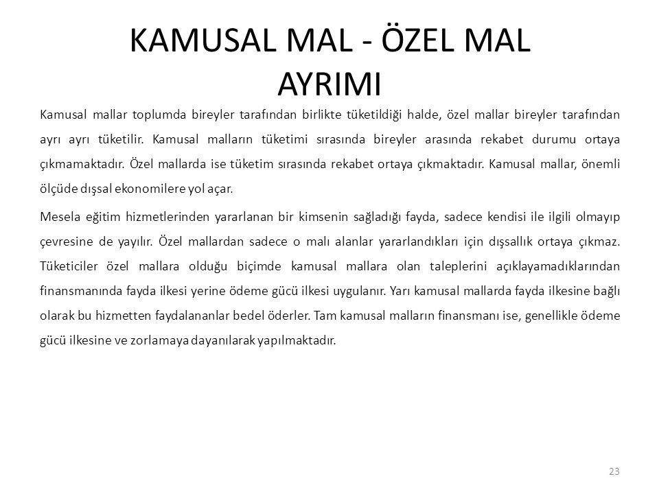 KAMUSAL MAL - ÖZEL MAL AYRIMI Kamusal mallar toplumda bireyler tarafından birlikte tüketildiği halde, özel mallar bireyler tarafından ayrı ayrı tüketi