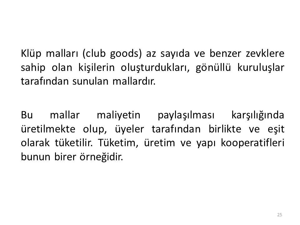 Klüp malları (club goods) az sayıda ve benzer zevklere sahip olan kişilerin oluşturdukları, gönüllü kuruluşlar tarafından sunulan mallardır. Bu mallar