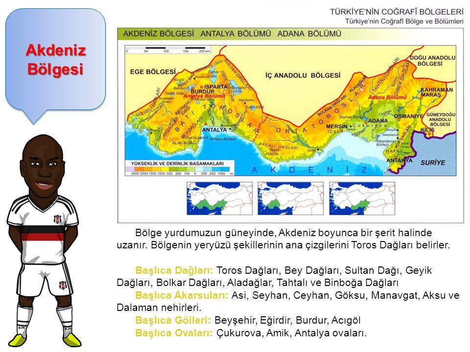 Akdeniz Bölgesi Bölge yurdumuzun güneyinde, Akdeniz boyunca bir şerit halinde uzanır.