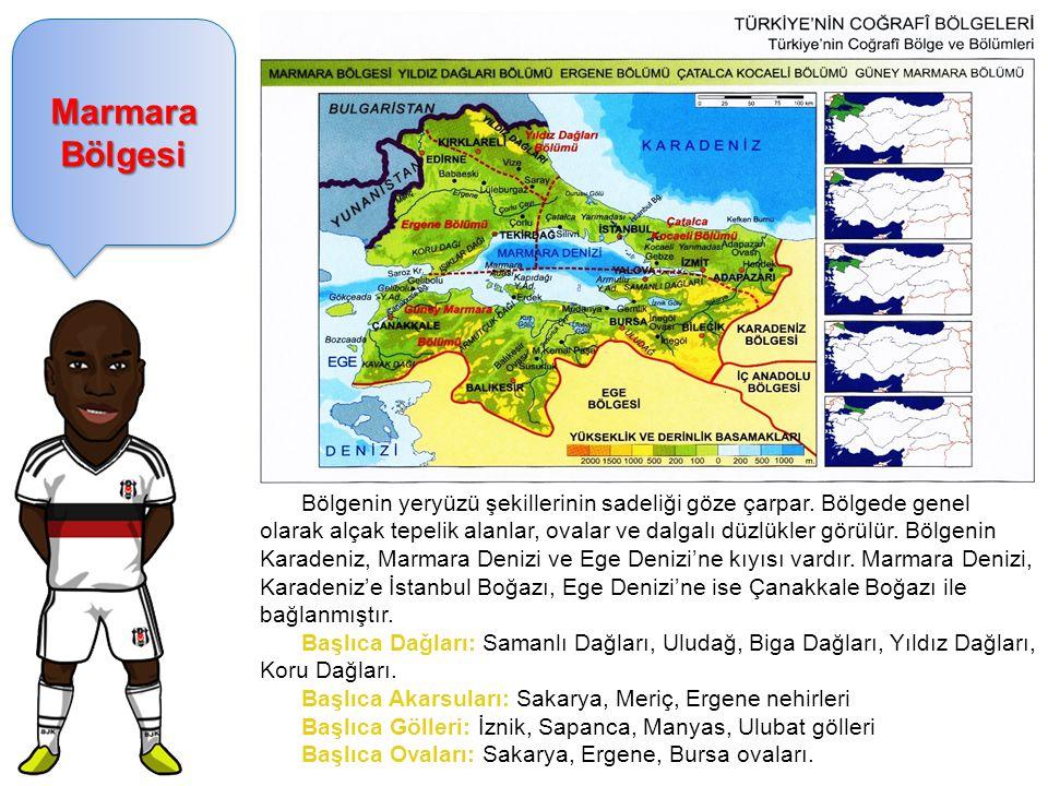 Marmara Bölgesi Bölgenin yeryüzü şekillerinin sadeliği göze çarpar. Bölgede genel olarak alçak tepelik alanlar, ovalar ve dalgalı düzlükler görülür. B